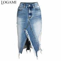LOGAMI RAPED Джинсовые юбки Женский асимметричный карандаш джинсовая юбка дамы высокая Сплит MIDI юбка плюс размер 2XL 3XL Y200704