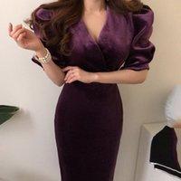 Gaganight Velvet старинные элегантные женщины Bodycon вечеринка платье с длинным рукавом Deep Vece Office Lady модные платья Slim Vestidos Y200805