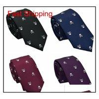 Yaratıcı Erkekler Dar Ok Tipi Kravat Exquisite Tasarımcısı Polyester Kafatası Nakış Çok Desenli CA QYLJVX Nana_Shop