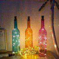 Botella de vino del vidrio de la lámpara Con 2M 20LED alambre de cobre luces de cadena Cork frasco en forma de partido ligero de boda del tapón de la decoración del hogar regalo DBC DH0944