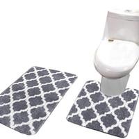 2pcs 목욕 매트 카펫 세트 미끄럼 방지 물고기 스케일 목욕 매트 욕실 주방 카펫 doormats 장식 변기 좌석 커버 러그 카펫 # 40gy1 ilgts