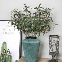 5 قطع 28 بوصة الأخضر النباتات الاصطناعية الزيتون الفروع الفواكه وهمية الزهور فرع أوراق للمنزل مكتب الحرف الديكور الخضر