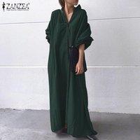 Günlük Elbiseler Zanzea Şık Kadınlar Uzun Kollu Maxi Elbise Sonbahar Vintage Düğmeler Pamuk Keten Gömlek Katı Sundress Vestido Robe 5xl1