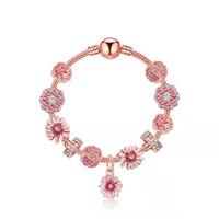 Little Daisy Charm Armbänder Rose Gold Charms Perlen für Mädchen Geschenk Schlangenkette DIY Schmuck Zubehör Valentine Armbänder