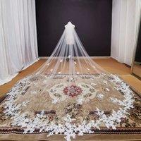 Lindos fotos reais Long Lace Appliques Wedding Veil White Marfim 2021 Catedral Véu nupcial 3/4/5 metros Acessórios de casamento noiva AL7600
