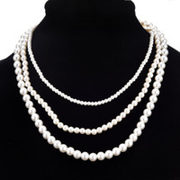 Long Pearl Necklace Bride and Bridesmaid Pearl Necklace Mult...