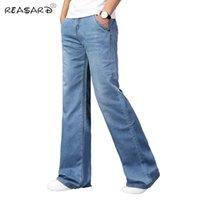 Jeans masculinos homens 2021 mens modis grande bota flared corte perna solta encaixe cintura alta masculino designer clássico azul denim azul