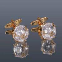 Boutons de manchette en cristal pour hommes de luxe de haute qualité Fashonable Zircon en cuivre en cuivre et argent rond en argent