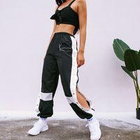 HOUZHOU Joggers pantaloni delle donne rappezzatura di modo Pantaloni felpa Harem casuale laterale Split Button con pannelli a vita alta Pantaloni Streetwear 201012