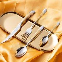 24pcs Kubac Hommi plaqué or en acier inoxydable en acier inoxydable Ensemble diner couteau Fourchette Set Cutlery Set Service pour 6 Drop Shipping 201128