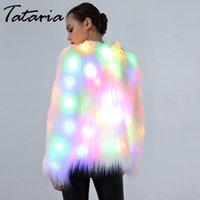 Tataria S-6XL Women Faux Fur LED Light Coat Women Plus Size Christmas Costumes Women's Winter Warm Festival Party Club Overcoat