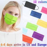 12 الألوان المتاح مصمم أزياء الوجه أقنعة 50PCS حزمة البيع بالتجزئة غير المنسوجة الكبار والاطفال قناع مضاد للغبار 3 طبقة mascarilla mascherina