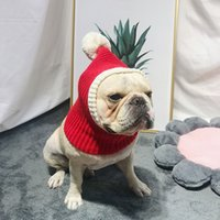 محبوك قبعة كلب عيد الميلاد كاب الشتاء الدافئة الكلب القبعات للكلاب القطط الملحقات الصوف الفرنسية البلدغ قبعات للكلاب السنة الجديدة القبعات 201109
