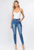 Calças de brim das mulheres de cintura alta Mulheres Blue Belt Design Calça Calças Roupas Valentine Presente Gota