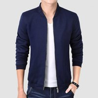 Myazhou 2020 Autumn Herbst Casual Jacket, trendige Festkörper-Stehkragen schlanke Strickjacken, plus Größe Navy Blue Mantel male1