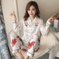 Осень зима 2018 wavmit новые женщины пижамы шелковые длинные вершины набор женские пижамы набор ночной ночной засыпь наборы длинные пастдики женщины ночь t200110