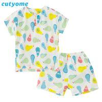 Cutyome verano pera / fresa / Pato Impreso niños Pijamas de algodón de manga corta para niños de dibujos animados ropa de dormir pijamas Niños Niñas c1114