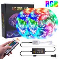 米国ストック10M RGB 5050 SMD防水LEDストリップライト12V 300 LED 44キーリモートコントロールライトクリスマス休日の装飾