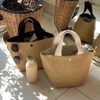Bolsas hechas a mano de verano Mujeres Tejido de playa Ladies Bolsa de paja envuelta Bolsa de playa Ratán Kintted Top Manija Bolsos Totes de viaje