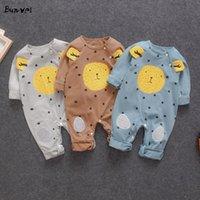Bunvel verano niño niños bebé niña niños ropa delfín león elefante dibujos animados animal patrón de manga larga ropa de niña f y1219