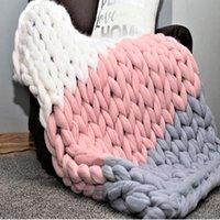Coloridas de lã tecelagem manual knited Cobertores Super Macio cores emenda mão-de malha Blanket Tópico para presentes amigos da família menina