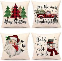 Рождество наволочки Xmas украшения Красный Черный Пледы Throw Подушка Подушка чехол для Xmas Tree Грузовик Санта Клауса снеговика HH9-3418