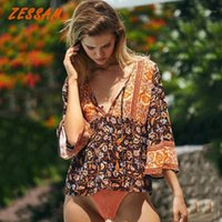 Blusas das mulheres Camiseta Zessam Boho Inspirado Verde Floral Verão Top Vintage Blusa Mulheres Botões de Algodão Tops Bohemian Gypsy Laidies Holida