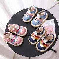 Baby Sandels verão menino menina macia sola sapatos de couro genuíno 0-3 anos1