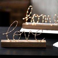 홈 장식 LED 야간 조명 사랑 / 홈 편지 램프 나무 기지 홈 장식 인형 장식품 거실 침실 장식 T200710
