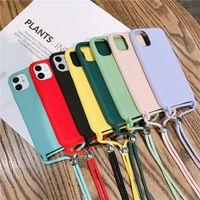Caso de telefone de silicone para iPhone 12 pro máxima cor sólida caso de silicone para iphone 11 pro x xs max xr capa com cordão