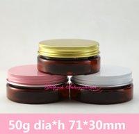 50pcs / lot 50g color ámbar Pomadas Ceras frasco vacío Envase de 50 ml PET Packaging latas de crema compone al por mayor