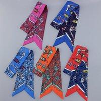 Шарфы бренд имитировал Twill шелковые женщины ретро печать оранжевый шаль роскошный классический мешок ленты шарф дамский