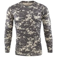Erkek T-Shirt Açık Hızlı Kuru T Gömlek Erkekler Taktik Kamuflaj Uzun Kollu Yuvarlak Boyun Spor Ordusu Tshirt Camo Komik 3D T-Shirt