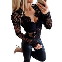 Combinaison de dentelle Sexy Lady Femmes Body Body Fall À Manches Longues Col V Noir Floral Modycon Modycon Justard Romper PlaySuit Tops