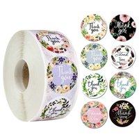 500pcs rond floral merci sticker papier labels DIY Scrapbook