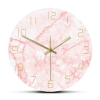 Silencieux non ticking salon décor naturel marbre rose rose mur horloge art nordique mur horloge minimaliste art silencieux montre