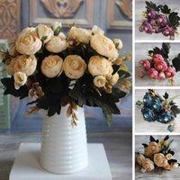 1pc Yapay Çiçekler Gül Sahte İpek Kumaş Çiçek Düzenleme Otel Odası Düğün Dekor