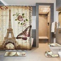Eiffel Paris Landschaftsdrucken Badezimmer Duschvorhang Set Wasserdicht Anti Slip Sockel Teppich Deckel Deckel Deckel Toilettenabdeckung Bad Matte Set T200711