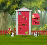 1: 12 Dollhouse miniature Fairy Door Rose Red Outside open Do...