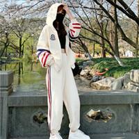 Semfri İki Adet Set Eşofman Kadınlar Sonbahar Pamuk Kapüşonlular Spor Suit Kadın Gevşek Stil Çizgili Elbise 2 Adet Set 201007