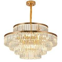 الذهب الثريا الحديثة الإضاءة لغرفة المعيشة فاخرة كريستال الخفيفة مصباح تناول الطعام نوم غرفة شنقا مصابيح كريستال اللمعان DHL