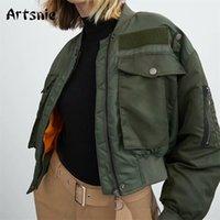 Artsnie sonbahar bombacı ceket kadın ordu yeşil sıcak fermuar cepler kış ceket kadın ceket parkas femme chaqueta mujer 201112