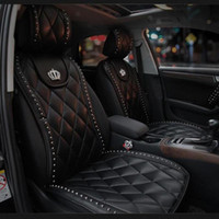 1pcs personalizado Car Couro Seat Covers DAD Crown Rivet Universal Tamanho Automobile Front Seat Almofadas Pads - Preto