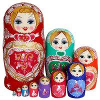 10 camadas de madeira russa nidificação bonecas matryoshka casa decoração ornamentos presente russo bonecos bebê presentes para crianças aniversário Z0123