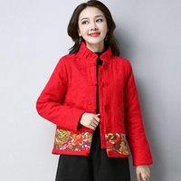 2020 Ano Novo Brasão Estilo Chinês Inverno Mulheres Grosso Vintage revestimento morno Tang Suit soltas Casual Outwear Ladies chinês Tops 11698