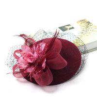 Зимние очаровательные женщины Sinamay Pillbox старинные шерстяные войлочные шапки сетки свадебные флористические свадьбы Федорас с очаровательным цветочным lm007 h jlljto