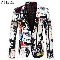 PYJTRL yepyeni Tide Erkek Moda Blazer Design Plus Boyut Kalça Sıcak Casual Erkek Slim Fit Ceket Şarkıcı Kostüm A1106 yazdır