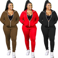 Casual Women Tracksuits Fashion Solid Color Long Sleeve Zip ...