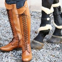 Womens Boots Western Platform Cowboy Lace-Up Round Toe Over The Knee High Knight