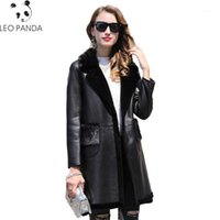 Зимние новые женщины женские дамы с длинным рукавом сгущает теплый воротник поворота повседневная реальная овчина пальто женское настоящее кожи CY3451